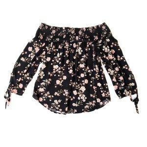 AEO Black Floral Cold Shoulder Blouse XS